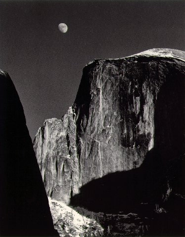 Moon and Half Dome Ansel Adams