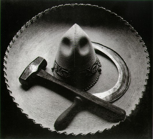 Mexican sombrero with hammer and sickle